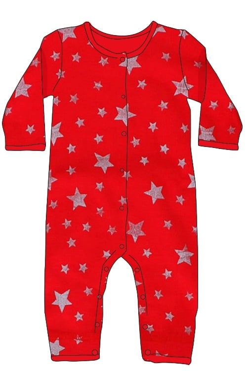Skylar Luna Red Silver Stars Christmas Holiday Onesie